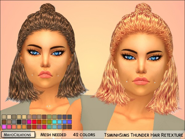 The Sims Resource: Tsminh`s Thunder Hair Retextured by MahoCreations for Sims 4