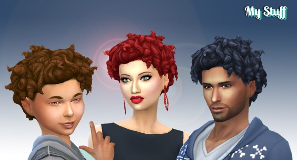 Mystufforigin: Tight Curls hair converted for Sims 4
