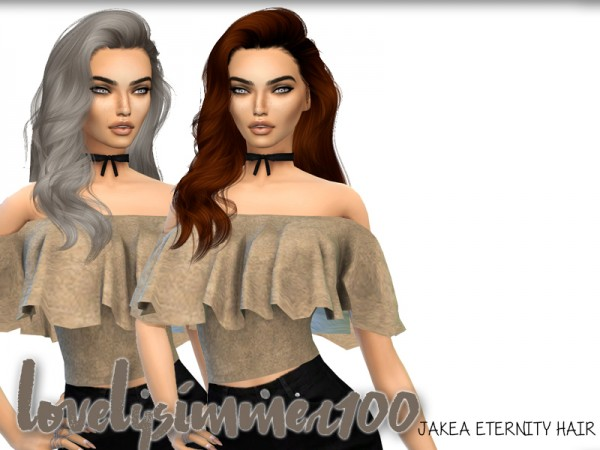 The Sims Resource: Jakea`s Eternity hair recolored by XxLovelysimmer100xX for Sims 4