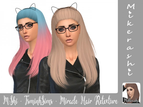 The Sims Resource: TsminhSims   Miracle Hair Retextured by Mikerashi for Sims 4