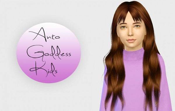 Simiracle: Anto`s Goddess hair retextured for kids for Sims 4