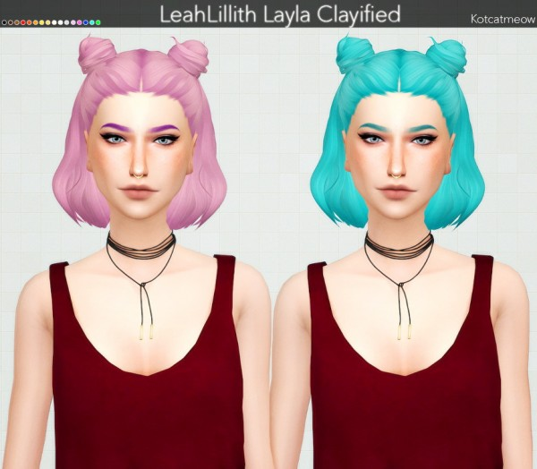 Kot Cat: Leahlillith`s Layla Hair Clayified for Sims 4