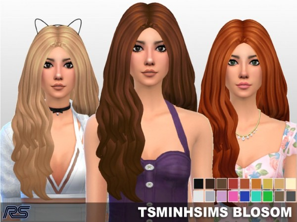 The Sims Resource: Tsminh`s Blossom Hair clayified by [RS] Studio for Sims 4