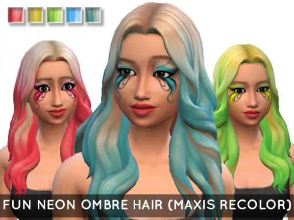 The Sims Resource: Fun Neon Ombre hair recolored by MissGoofball for Sims 4