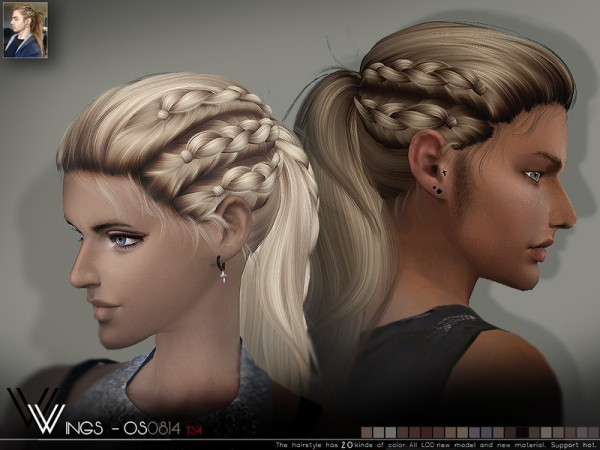 The Sims Resource: OS0814 hair by WINGS for Sims 4