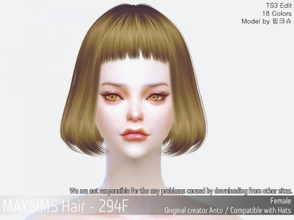 MAY Sims: MAY 294F hair retextured for Sims 4