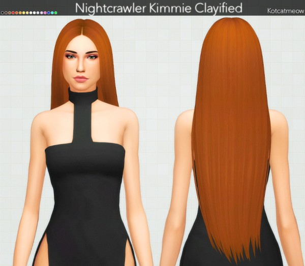 Kot Cat: Nightcrawler`s Kimmie Hair Clayified for Sims 4