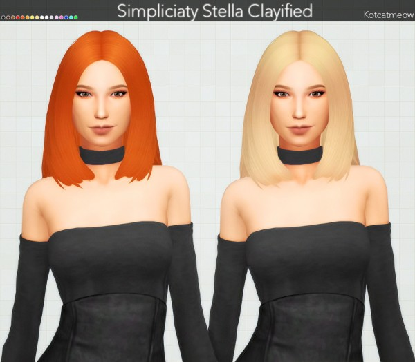 Kot Cat: Simpliciaty`s Stella Hair Clayified for Sims 4