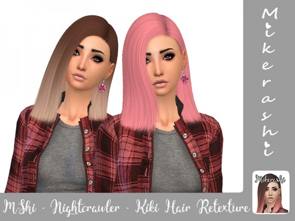 The Sims Resource: Nightcrawler`s KIKI hair retextured by mikerashi for Sims 4