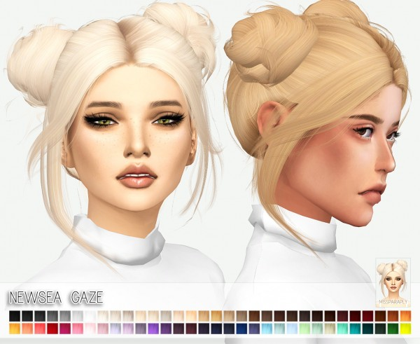 Miss Paraply: Newsea`s Gaze hair retextured for Sims 4