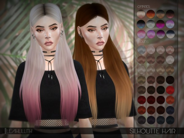 The Sims Resource: Silhouette Hair by LeahLillith for Sims 4