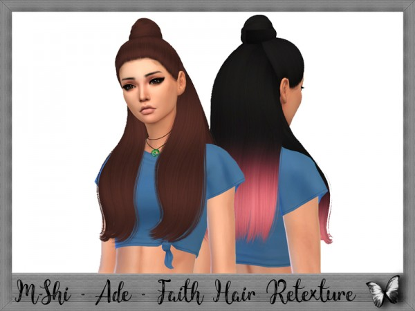 The Sims Resource: Ade Darma`s Faith Hair Retextured by mikerashi for Sims 4