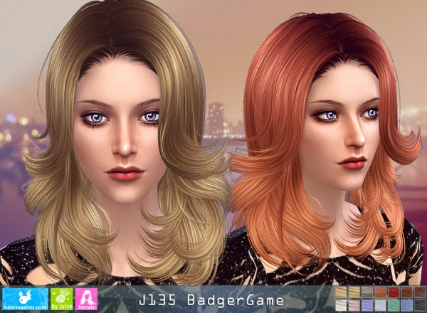 NewSea: J135 Badger Game hair for Sims 4