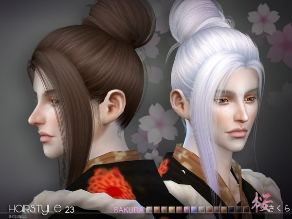 The Sims Resource: Sakura hair n23 by S Club for Sims 4