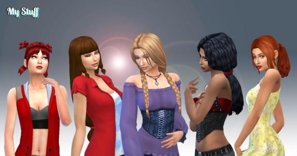 Mystufforigin: Tied Hairs Pack 6 for Sims 4