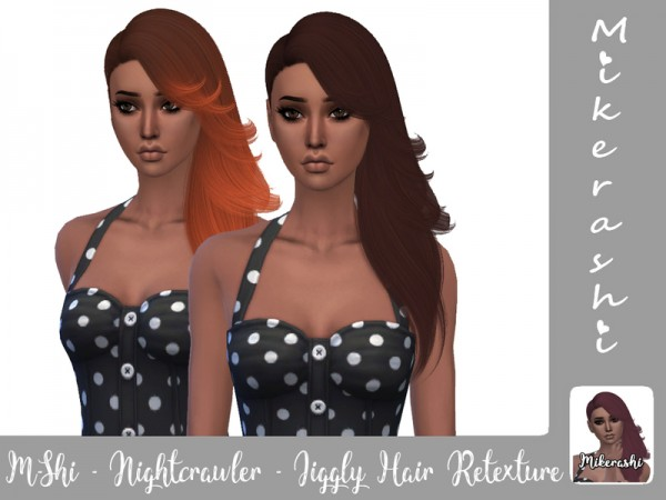 The Sims Resource: Nightcrawler`s Jiggly Naturals hair retextured by mikerashi for Sims 4