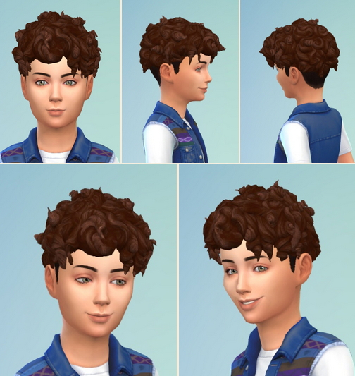 Birksches sims blog: Boy's Curls on Top hair retextured for Sims 4