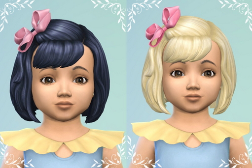 Birksches sims blog: Toddler's BowHair with Bangs for Sims 4
