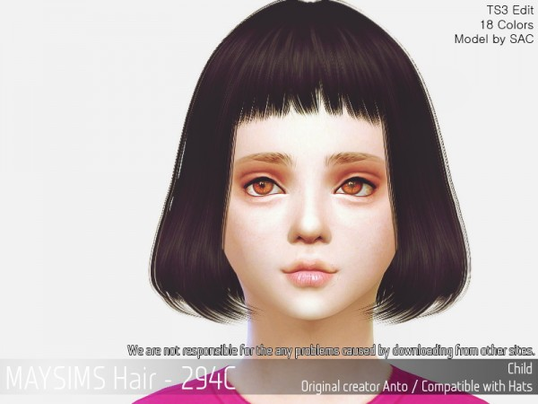 MAY Sims: MAY 294C hair retextured for Sims 4