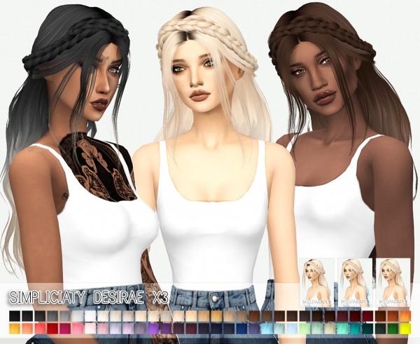 Miss Paraply: Simpliciaty`s Desirae hair retextured for Sims 4