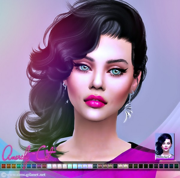 Anarchy Cat: Stealthic`s Vivacity hair retextured for Sims 4
