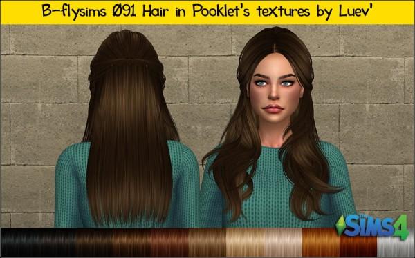 Mertiuza: Butterfly`s 091 hair retextured for Sims 4