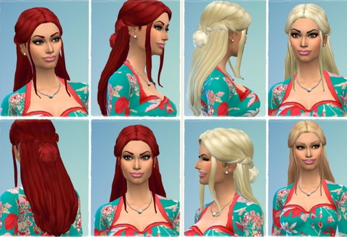 Birksches sims blog: Halfup Unbraided Hair for Sims 4
