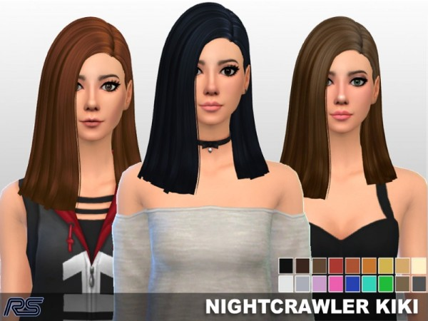 The Sims Resource: Nightcrawler`s Kiki hair Clayified by [RS] Studio for Sims 4
