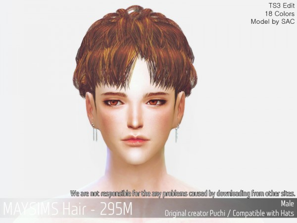 MAY Sims: MAY 295M hair retextured for Sims 4
