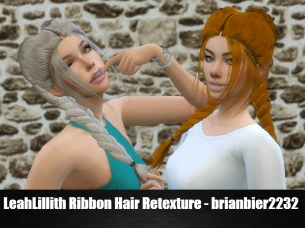 The Sims Resource: LeahLillith`s Ribbon hair retextured by brian.bier for Sims 4