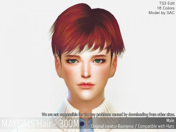 MAY Sims: MAY 300M hair retextured for Sims 4
