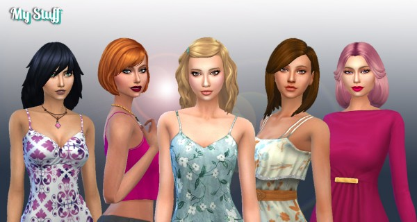 Mystufforigin: Medium Hair Pack 7 for Sims 4