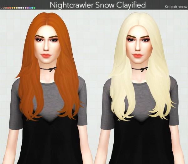 Kot Cat: Nightcrawler`s Snow Hair Clayified for Sims 4