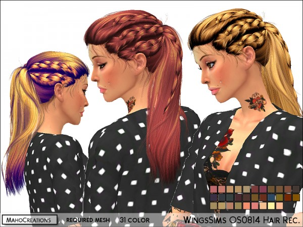 The Sims Resource: Wings OS0814 Hair Recolored by MahoCreations for Sims 4