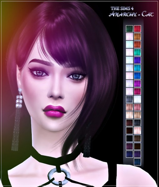 Anarchy Cat: WINGS OS0718 hair retextured for Sims 4