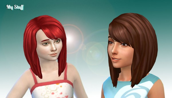 Mystufforigin: Ellie Hair for Girls for Sims 4