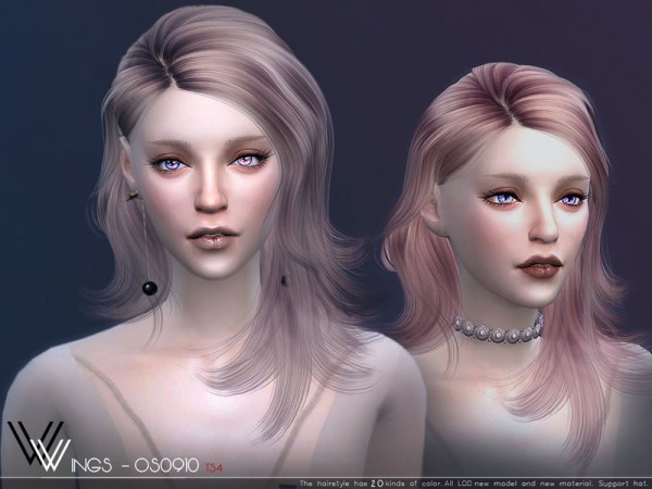The Sims Resource: WINGS OS0910 hair for Sims 4