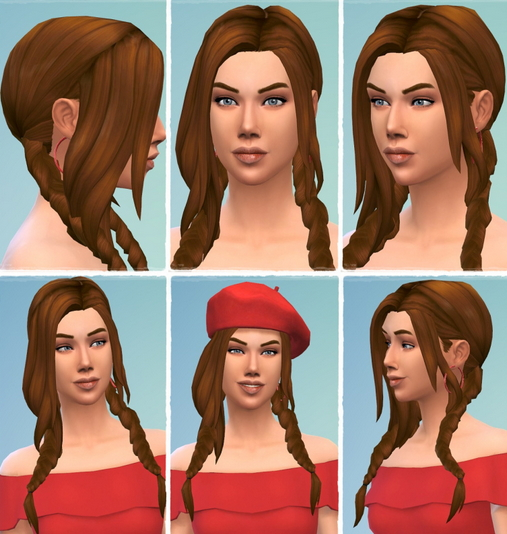 Birksches sims blog: Alina's Vampire Braids hair for Sims 4