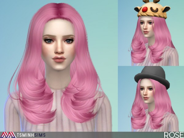 The Sims Resource: Rose hair 43 by TsminhSims for Sims 4