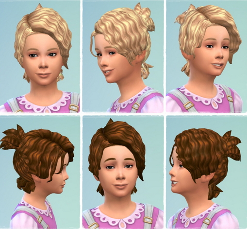 Birksches sims blog: Messie Curl Pony Tail Girls for Sims 4