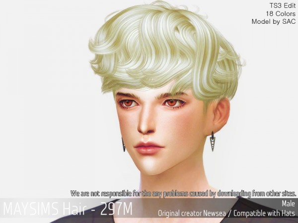 MAY Sims: MAY 297M hair retextured for Sims 4