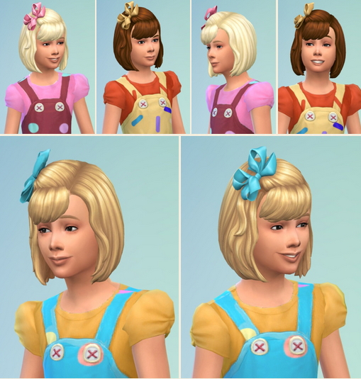 Birksches sims blog: Girl's BowHair with Bangs for Sims 4