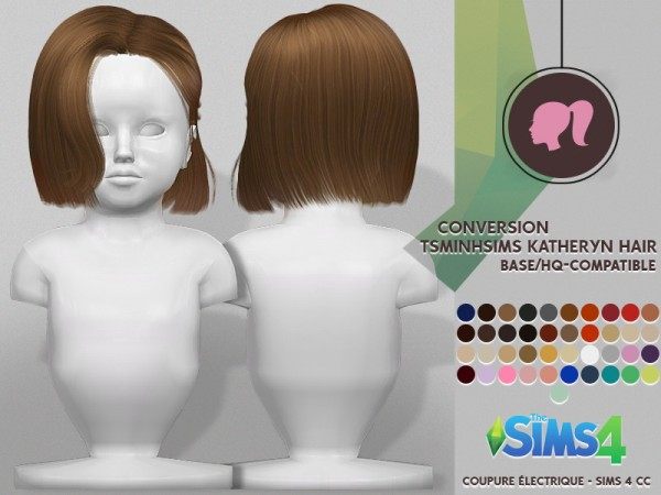 Coupure Electrique: Tsminh`s Katheryn hair retextured for Sims 4