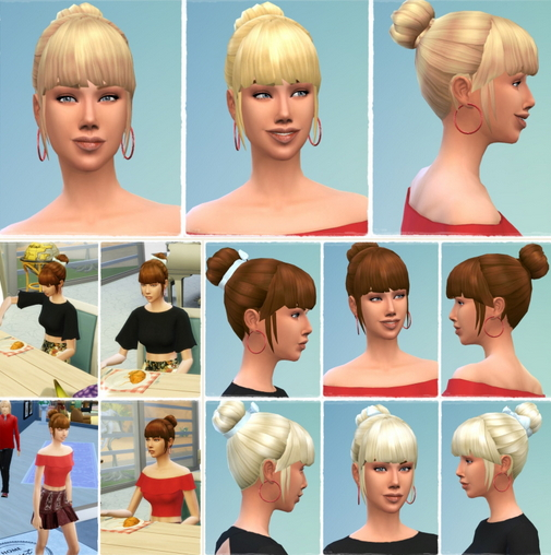 Birksches sims blog: My Daughter's Bun and BowBun hair retextured for Sims 4