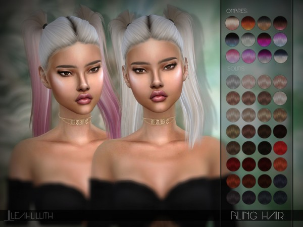 The Sims Resource: Bling Hair by LeahLillith for Sims 4