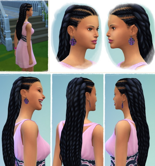 Birksches sims blog: Just Long Dreads hair for Sims 4