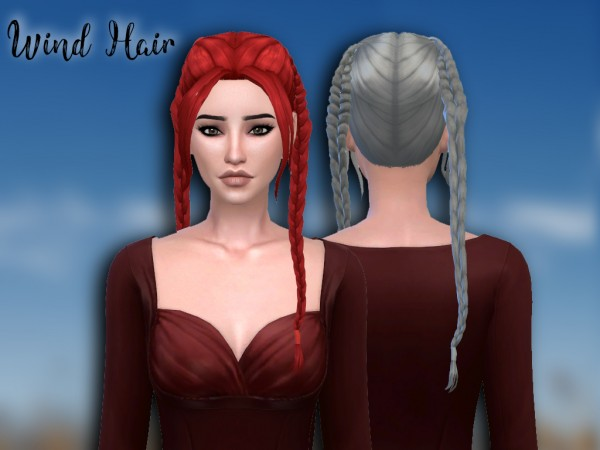 Mikerashi: Wind Hair for Sims 4
