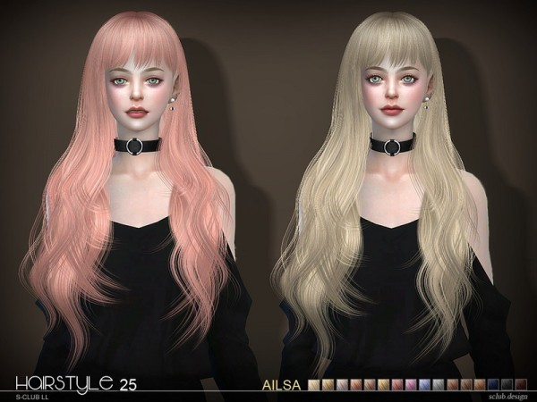 The Sims Resource: Ailsa N25 hair by S Club for Sims 4