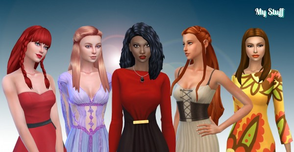 Mystufforigin: Long Hair Pack 12 for Sims 4