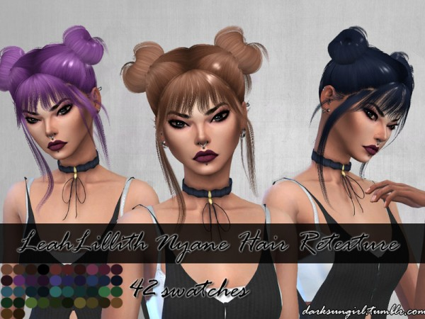 The Sims Resource: LeahLillith`s Nyane Hair Retextured by DarksunGirl for Sims 4